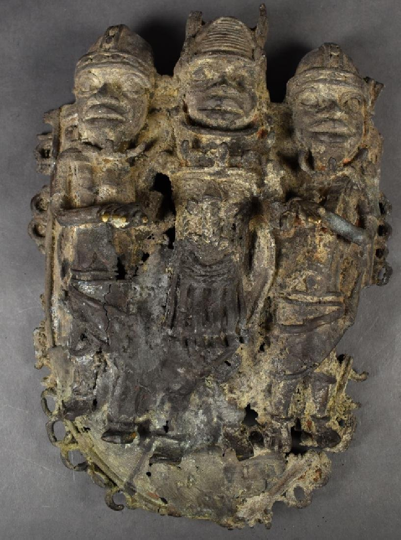African Metal Mask with Three Figures