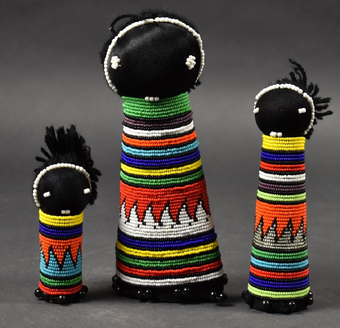 Set of 3 African Dolls with Beaded Dresses