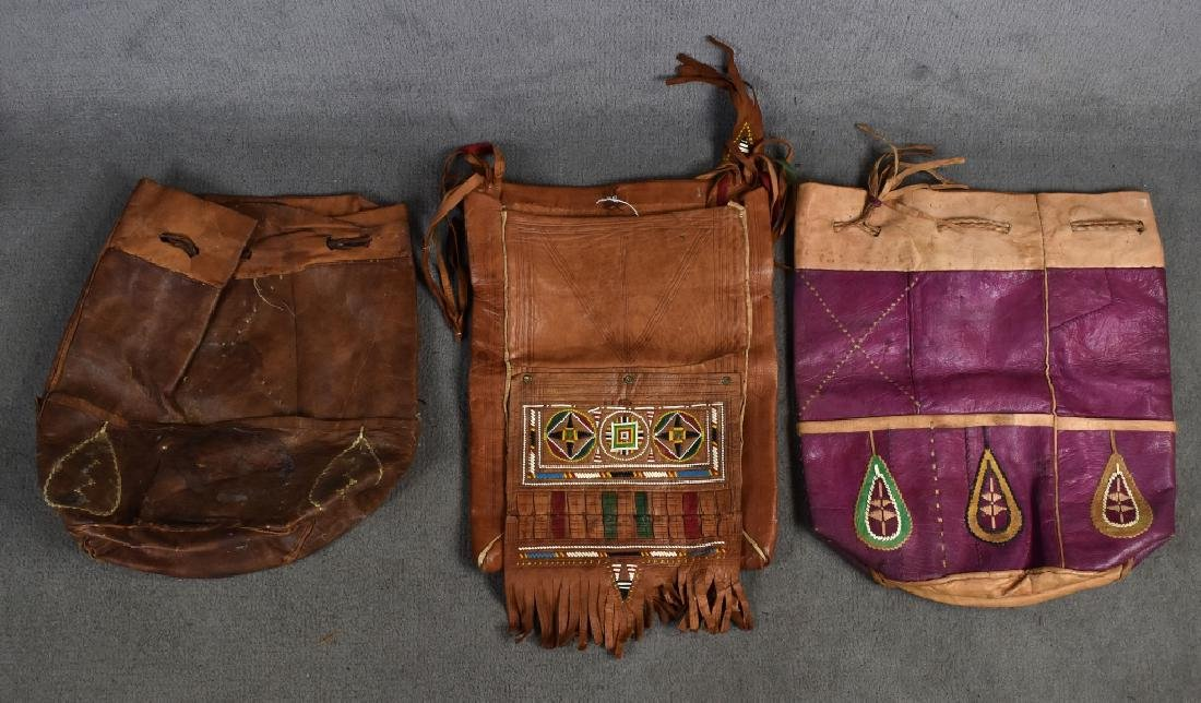 3 Leather Drawstring African Bags