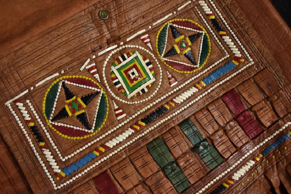 3 Leather Drawstring African Bags - 2