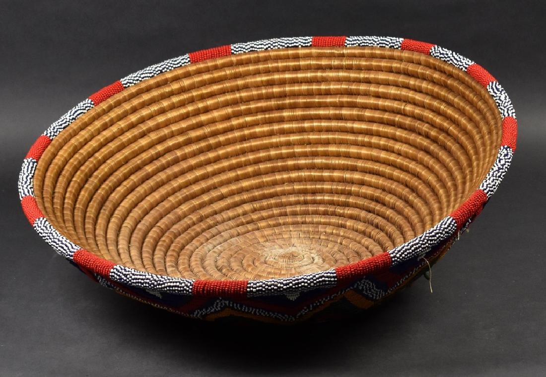 African Glass-Beaded Straw Bowl