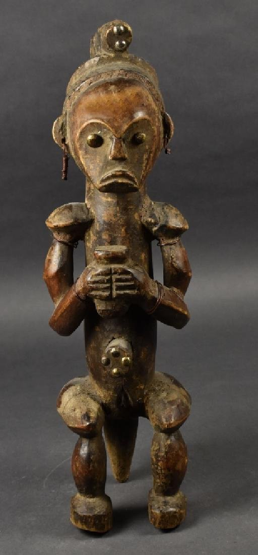 Wooden African Sculpture of Woman on Stool