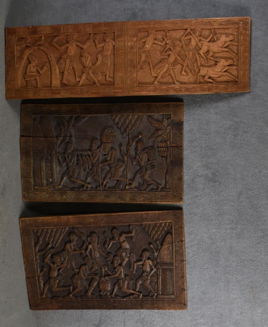 3 Carved Wooden African Panels
