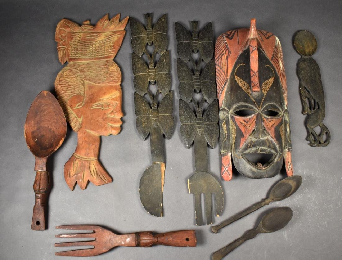 Carved African Mask, Forks & Spoons