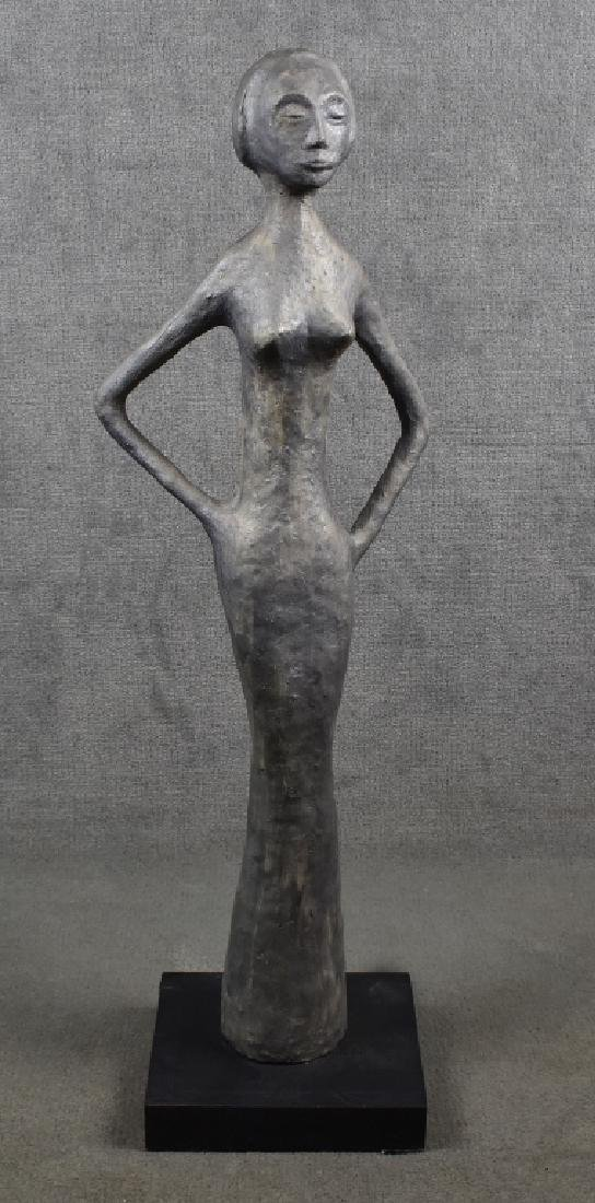 "Female Figurine on Wood Base, 30""H"