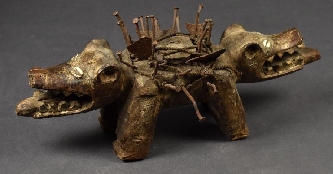 African Two-Headed Wooden Dog Sculpture