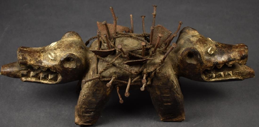 African Two-Headed Wooden Dog Sculpture - 3