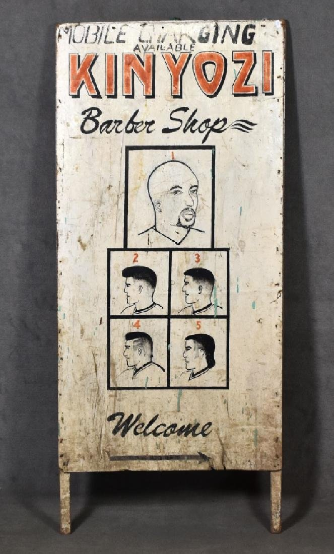 Folky African Barber Shop Sign
