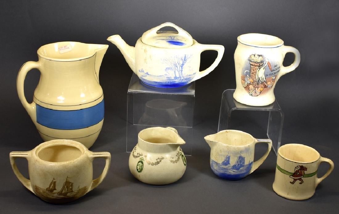 Roseville Creamware Lot, Circa 1930's, 7 Pcs