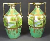 Pair of Handpainted Nippon Vases