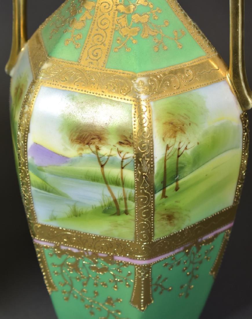 Pair of Handpainted Nippon Vases - 2