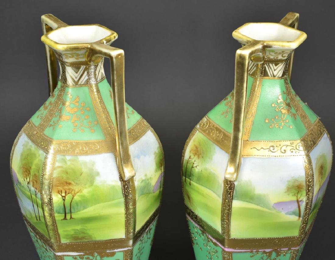 Pair of Handpainted Nippon Vases - 3