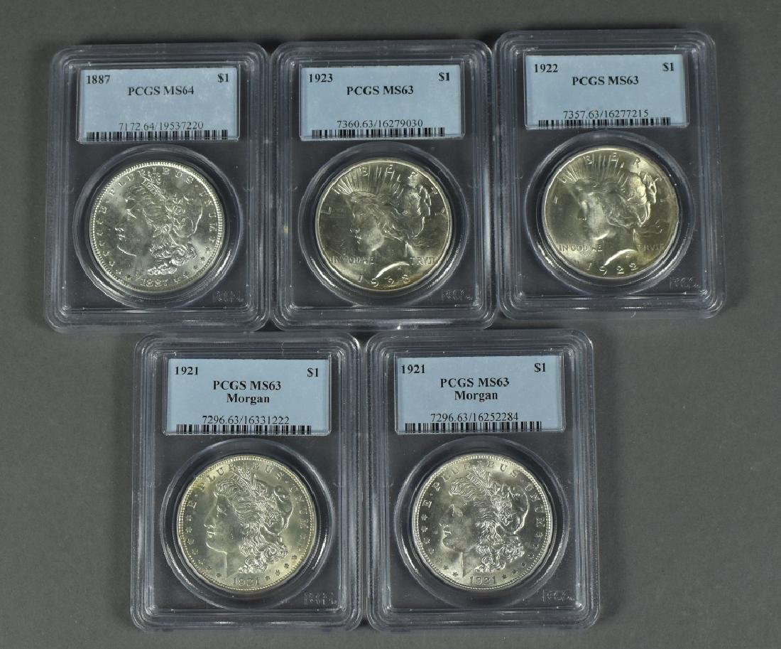 Five Silver Dollars Dates are 1887 (PCGS- MS64); two