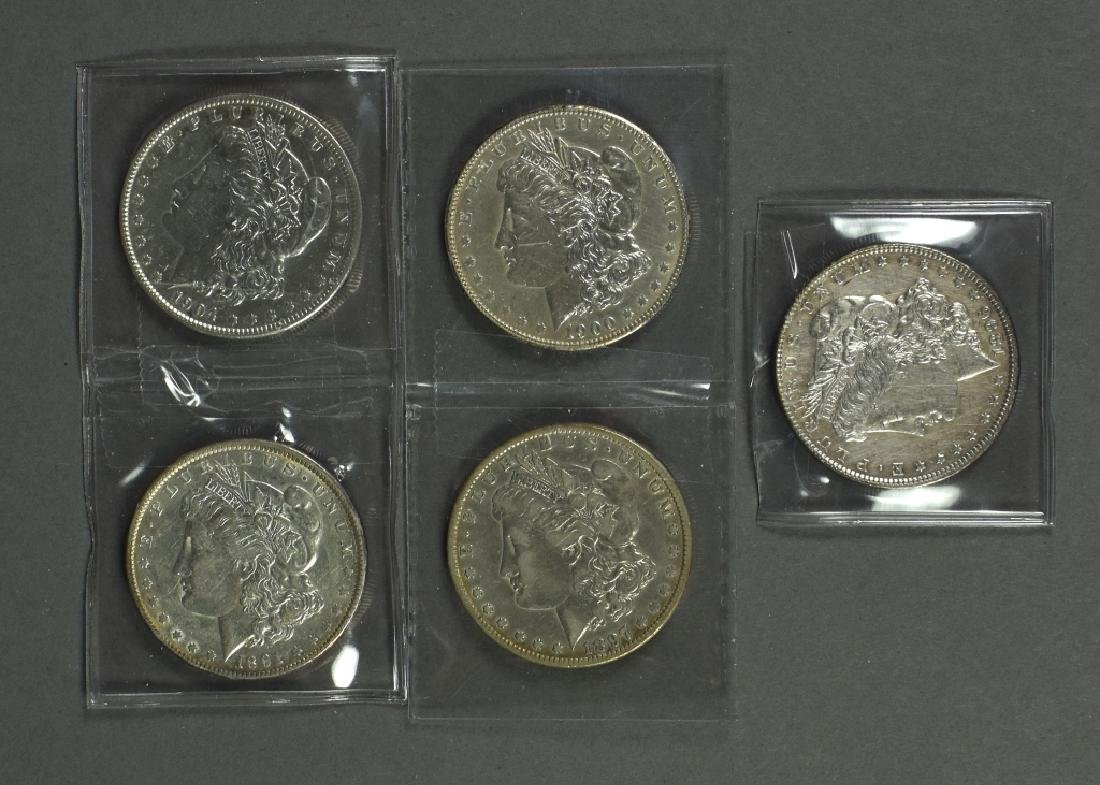 Five Morgan Dollars Grading XF or Better Dates include