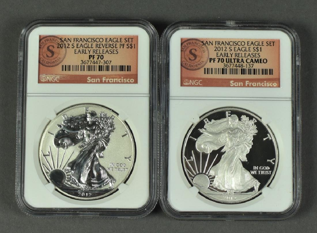 2012-S Two Coin Silver Eagle Set Proof 70 Ultra Cameo