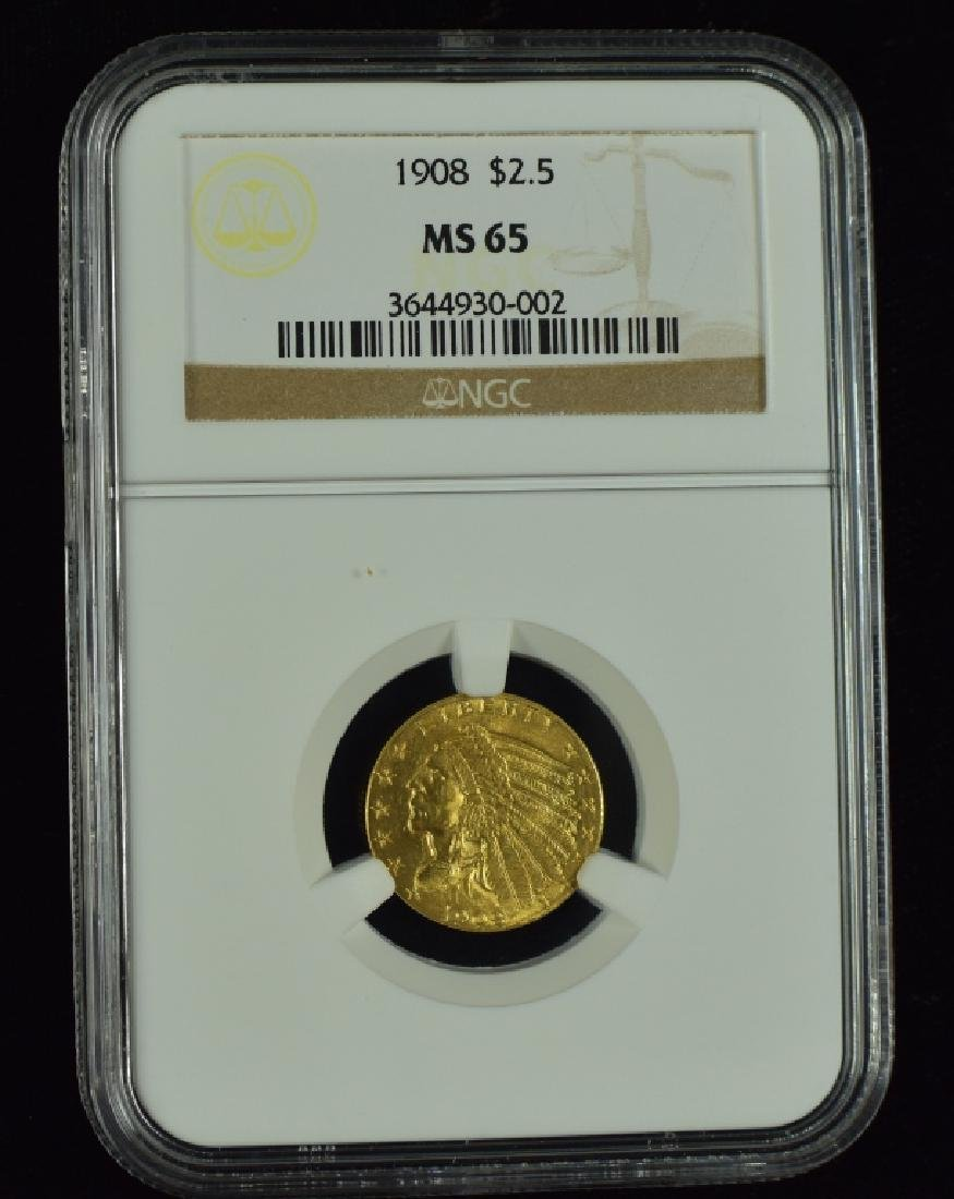 1908 Indian $2 1/2 Gold Coin Graded MS 65 by NGC.