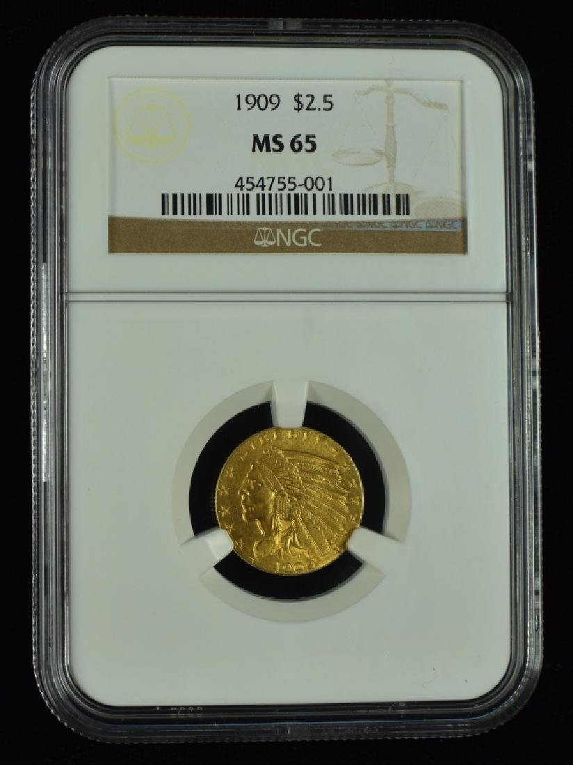 1909 Indian $2 1/2 Gold Coin Graded MS 65 by NGC.