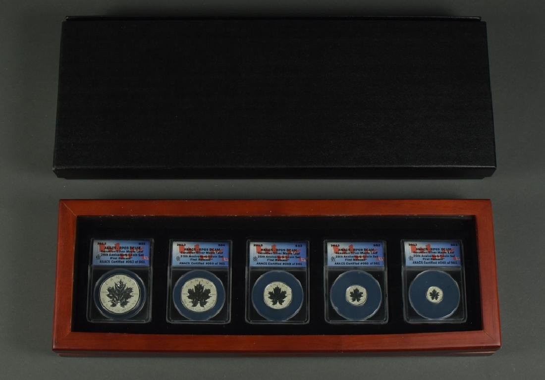 2013 Canadian Silver Set Maple Leaf five coin reverse