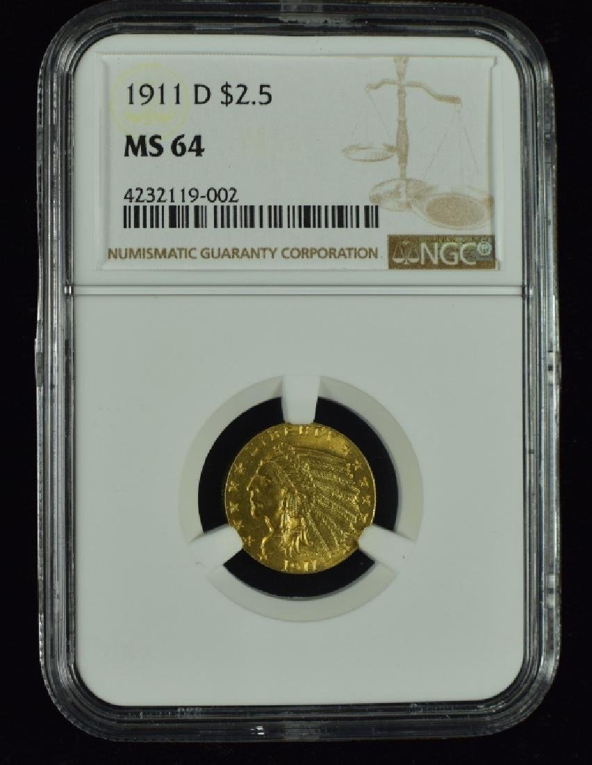 1911-D Indian $2 1/2 Gold Coin Rare - Key to the