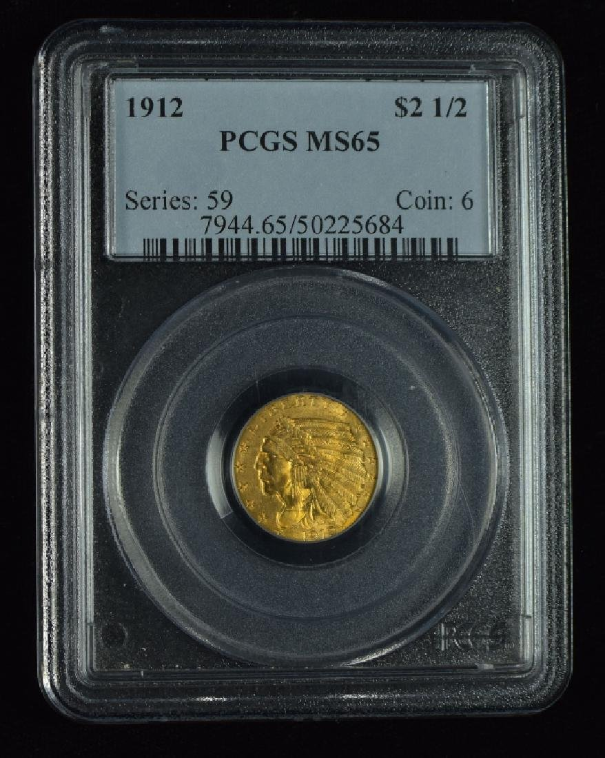 1912 Indian $2 1/2 Gold Coin Graded MS 65 by PCGS.