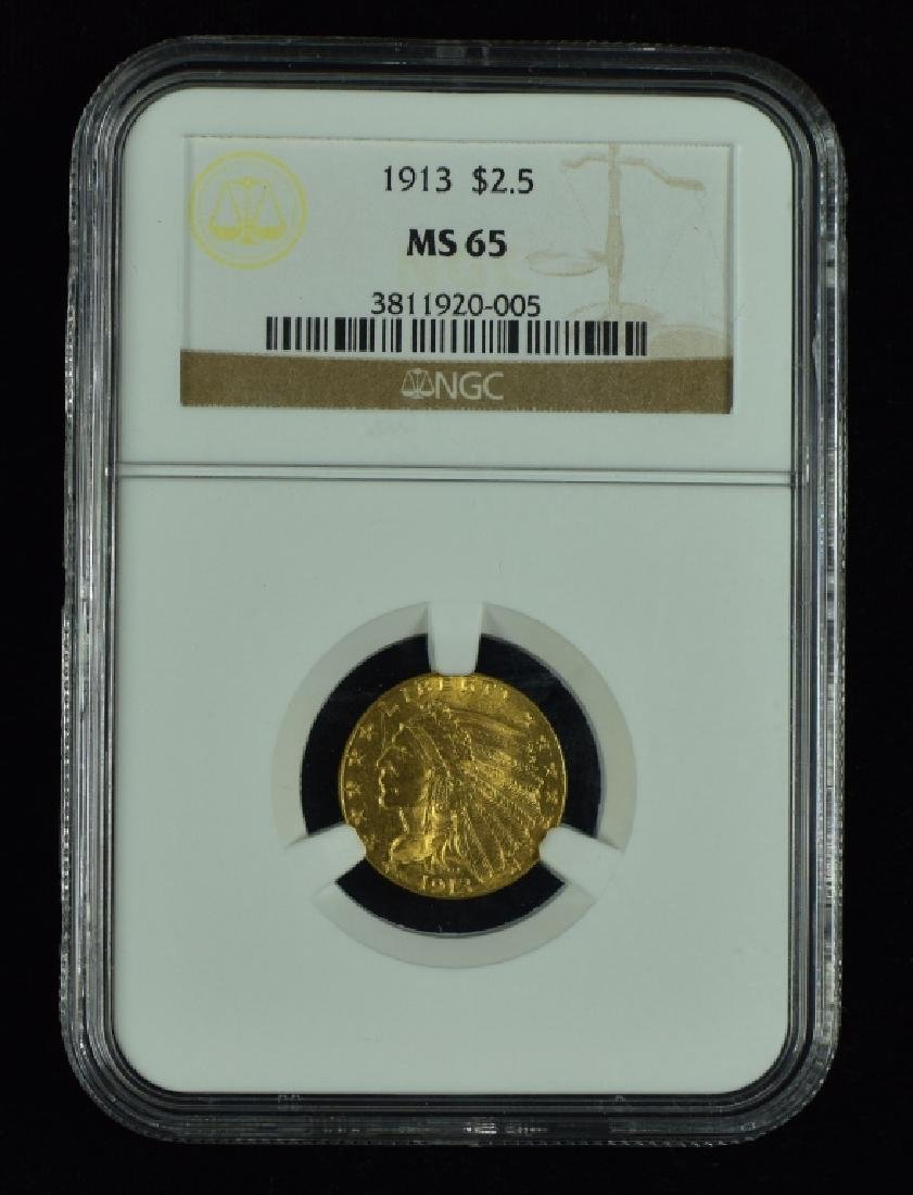 1913 Indian $2 1/2 Gold Coin Graded MS 65 by NGC.