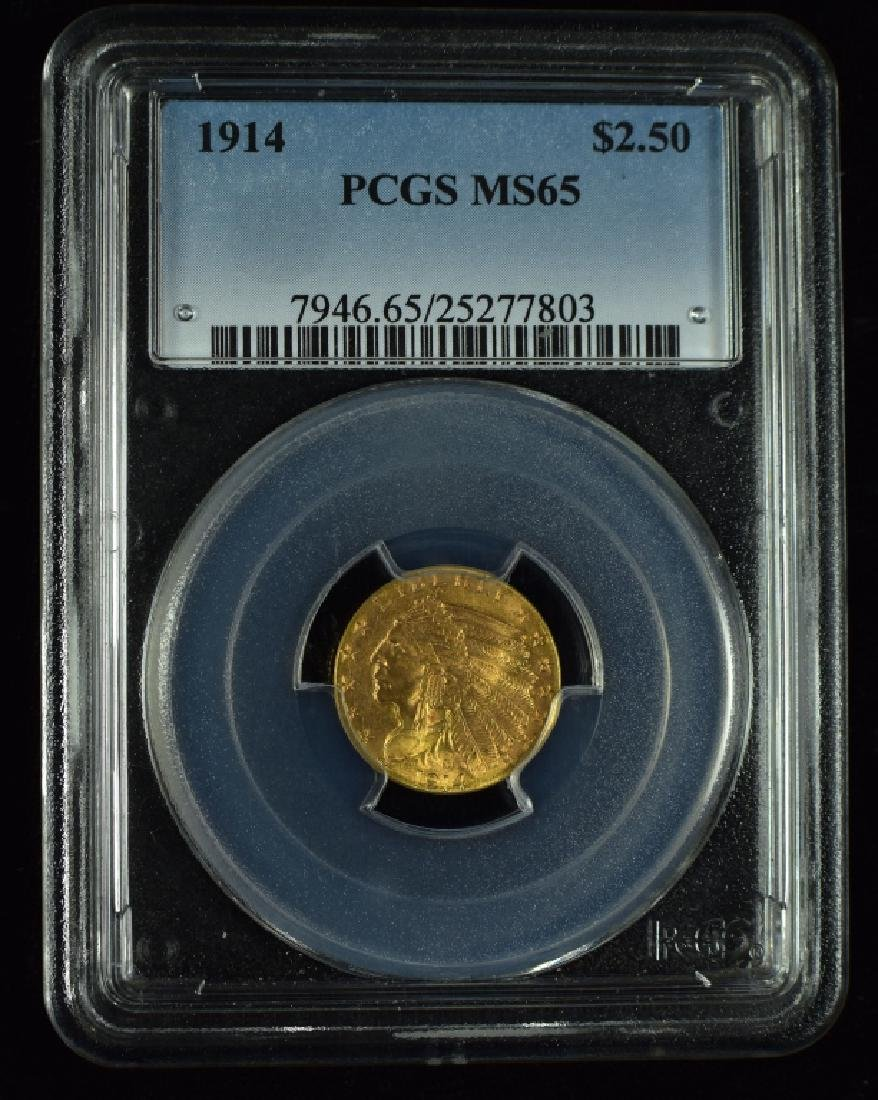 1914 Indian $2 1/2 Gold Coin Graded MS 65 PCGS.