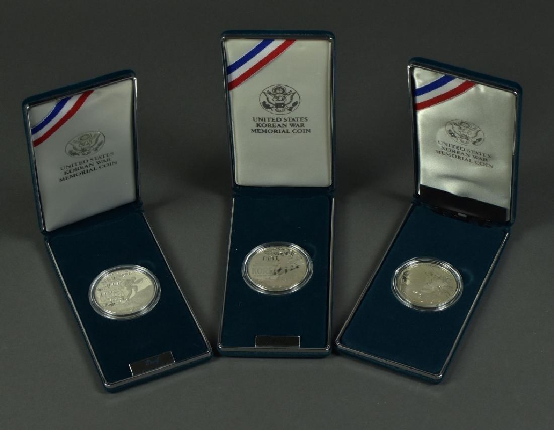 3 Korean War Memorial Proof Silver Dollars Dated 1991