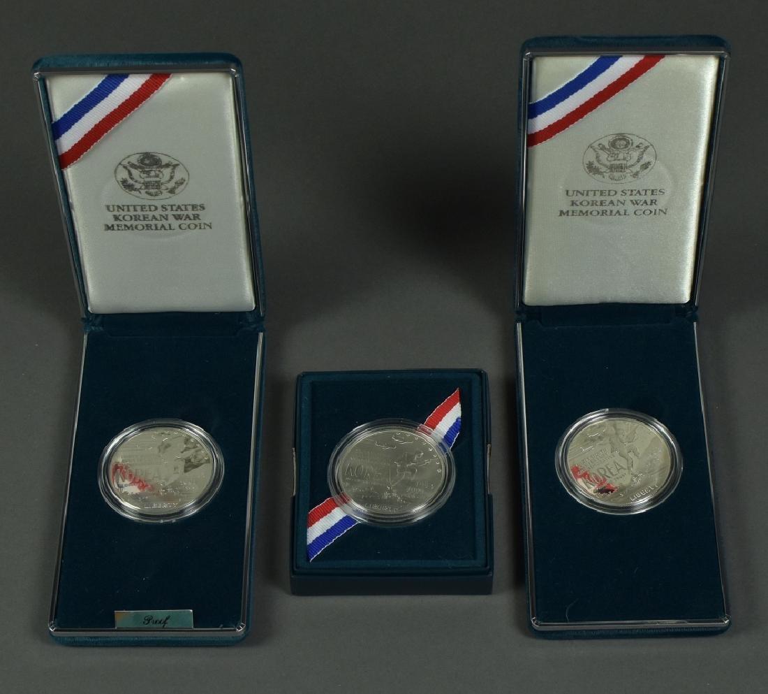 3 Korean War Memorial Silver Dollars Dated 1991.  2