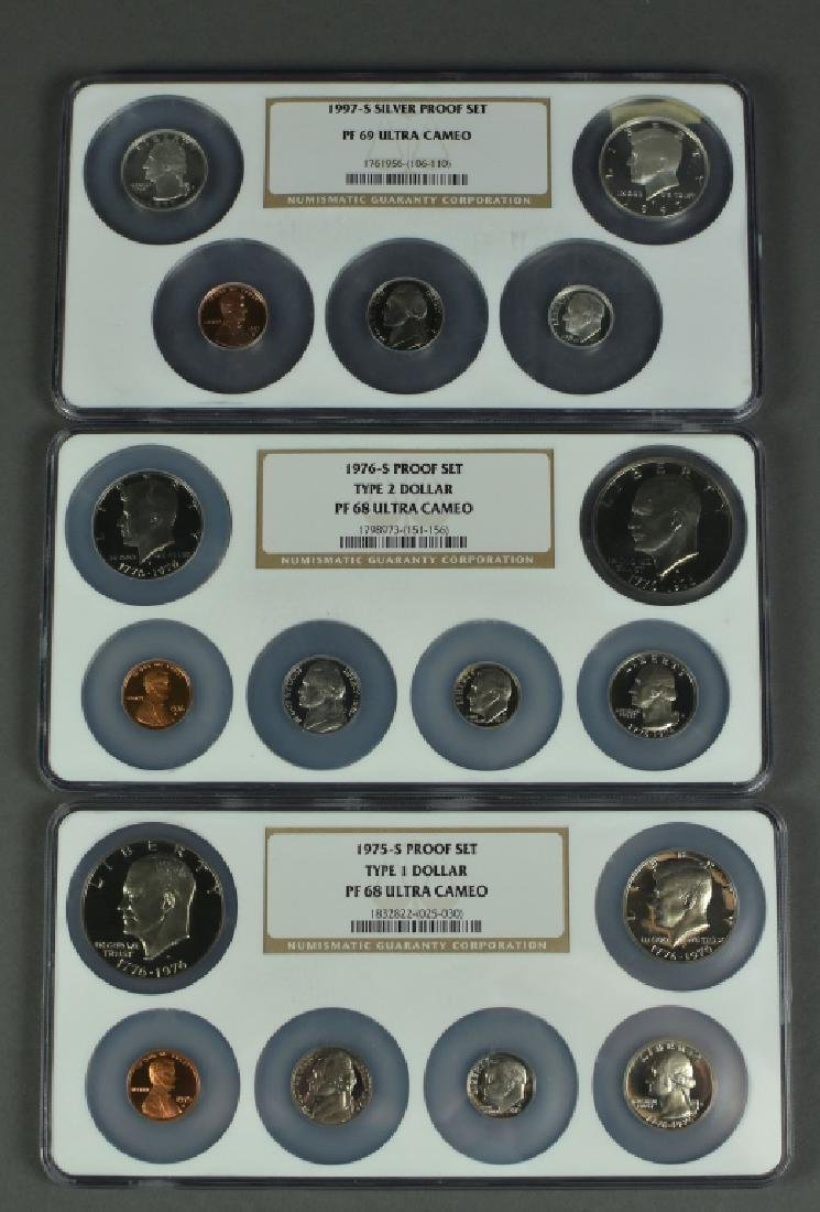 Three Proof Sets 1975-S Type I dollar, certified Proof