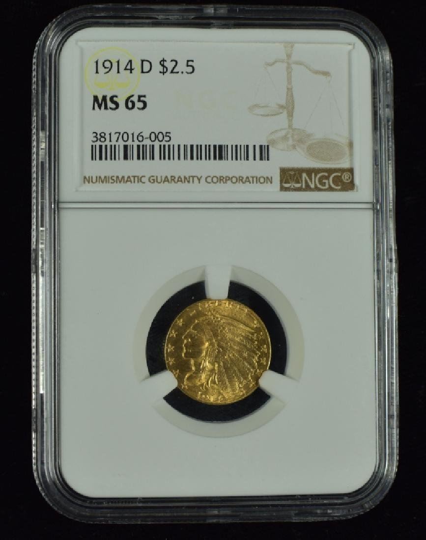1914-D Indian $2 1/2 Gold Coin Graded MS 65 by NGC.