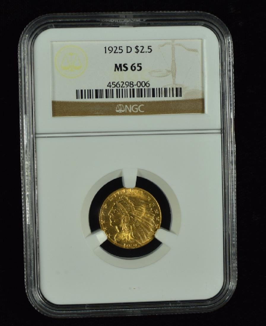 1925-D Indian $2 1/2 Gold Coin Graded MS 65 by NGC.