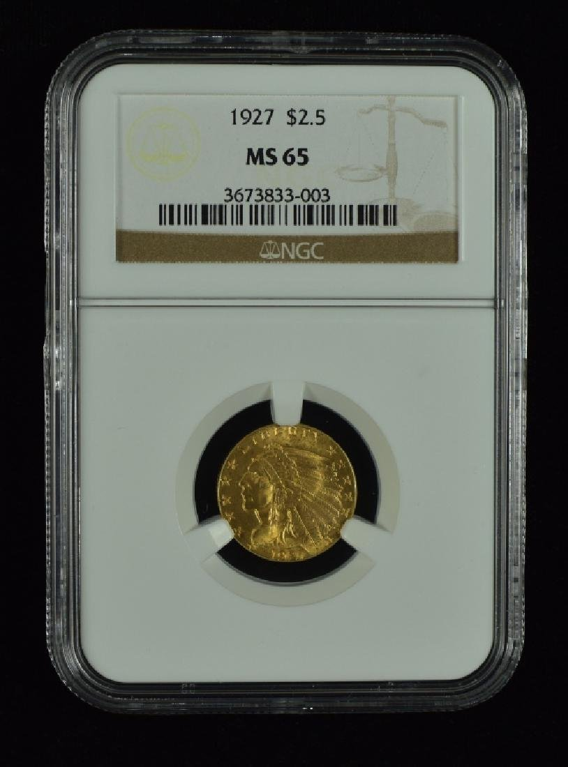 1927 Indian $2 1/2 Gold Coin Graded MS 65 by NGC.
