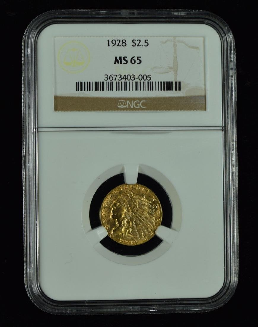 1928 Indian $2 1/2 Gold Coin Graded MS 65 by NGC.