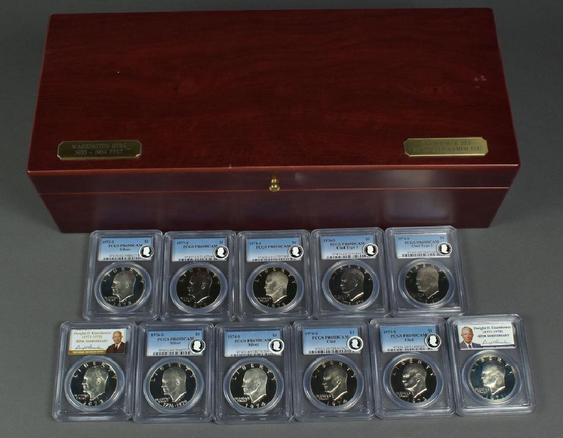 Set of 11 Proof Silver and Clad Eisenhower Dollars All