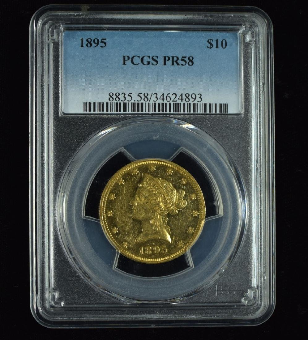 1895 Liberty $10 Gold Coin Graded proof 58 by PCGS,