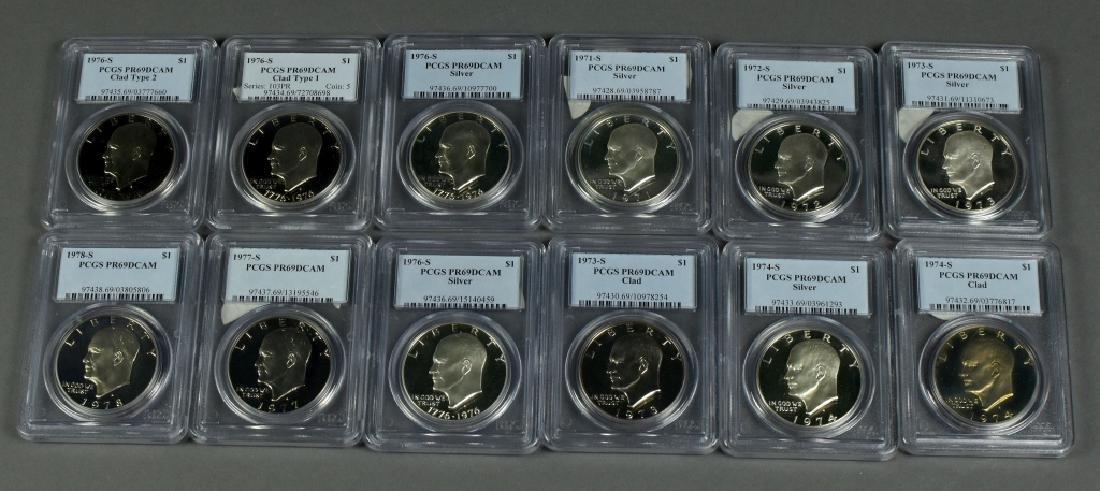 Set of 12 Proof Eisenhower Dollars 1971S-1978S.