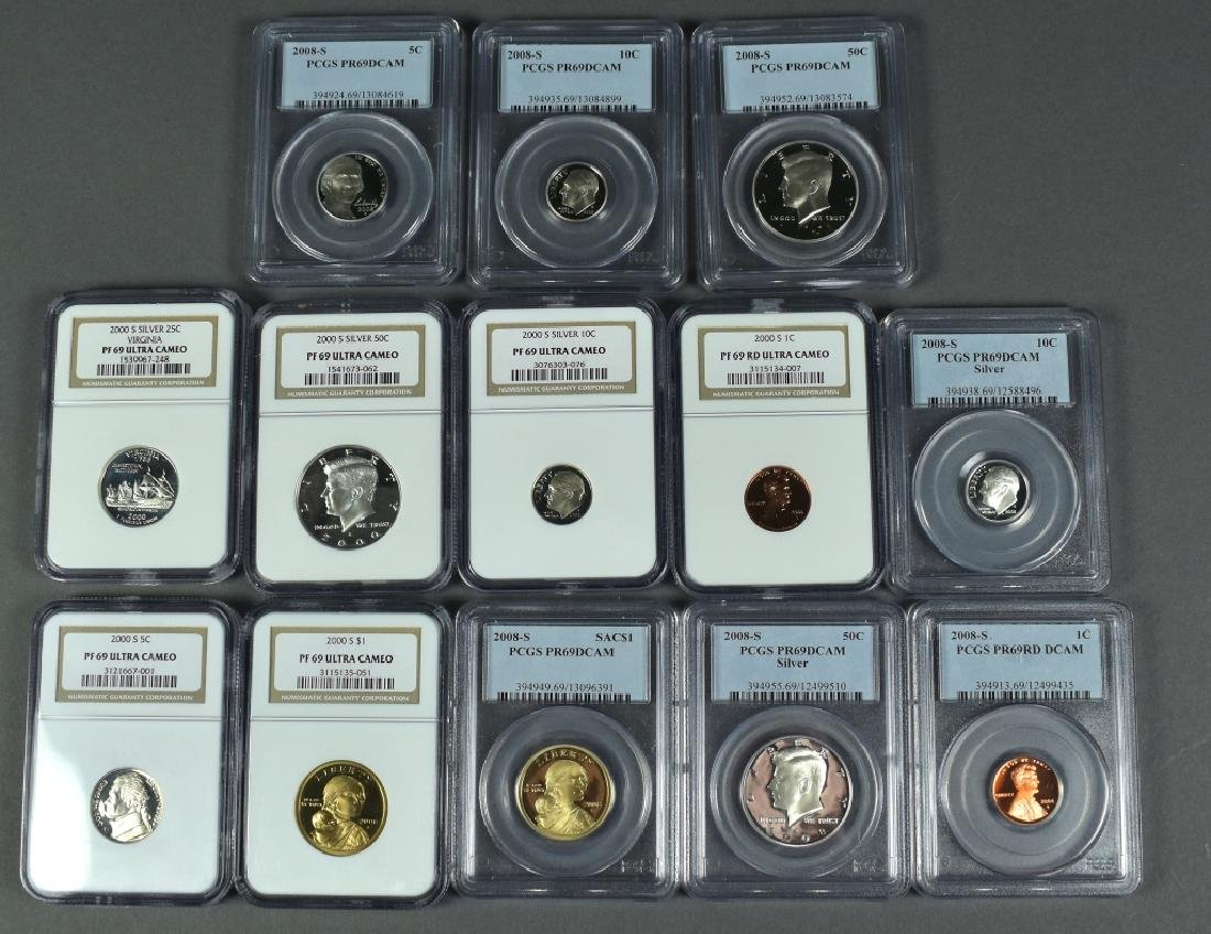 13 Slabbed Proof Coins 2000S Cent, Nickel, Dollar NGC
