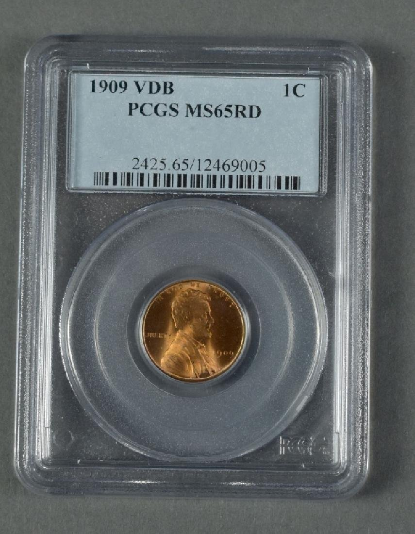 1909 VDB Lincoln Cent PCGS MS65 Red.