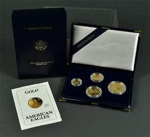 1992 Four-Coin Proof Gold American Eagle Set
