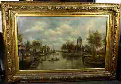 Dutch Canal Scene with Stone Tower