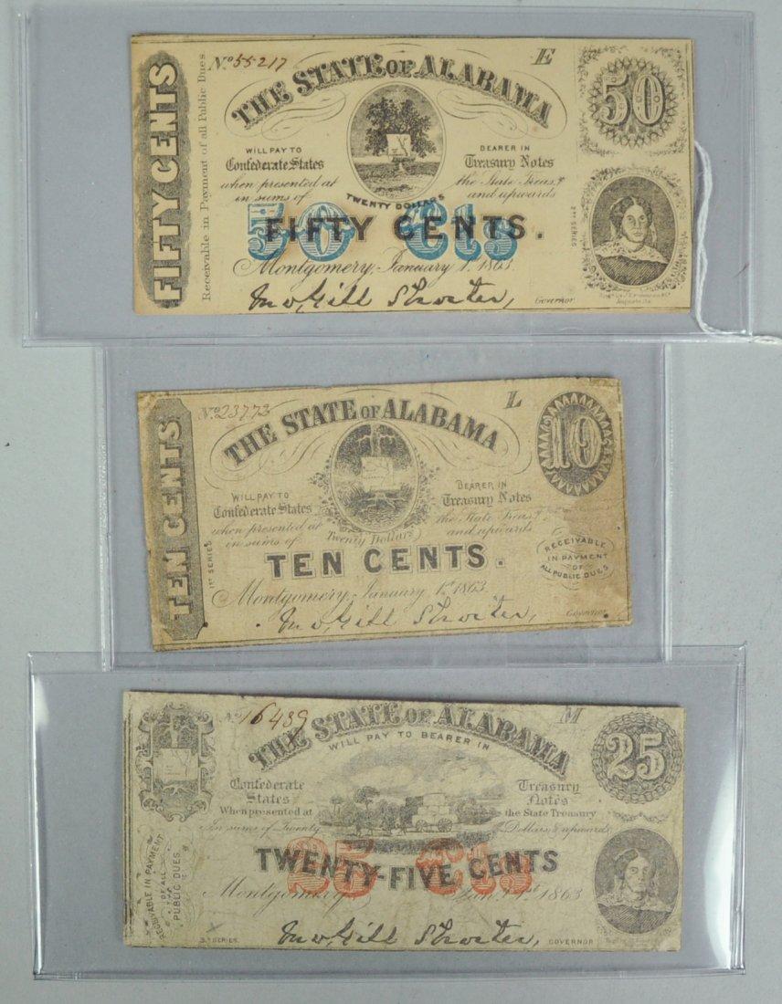 2: Three Obsolete Alabama Treasury Notes