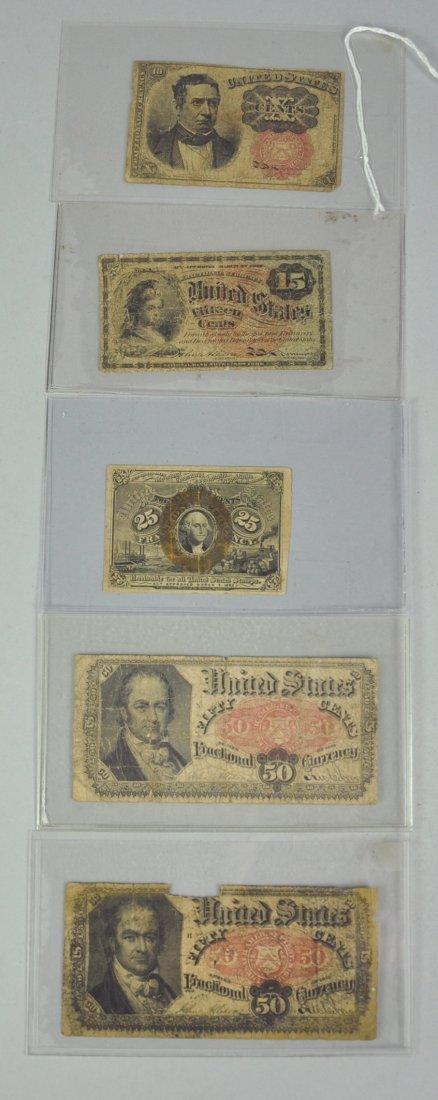 8: Five Fractional Currency Notes
