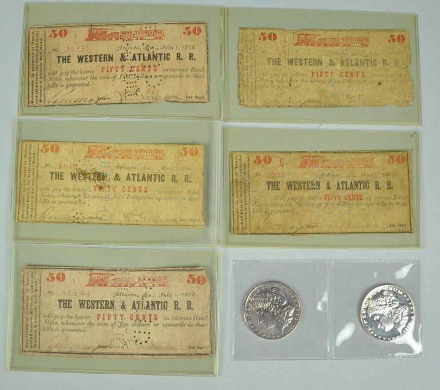 11: Five Western & Atlantic Railroad 50 Cent Notes