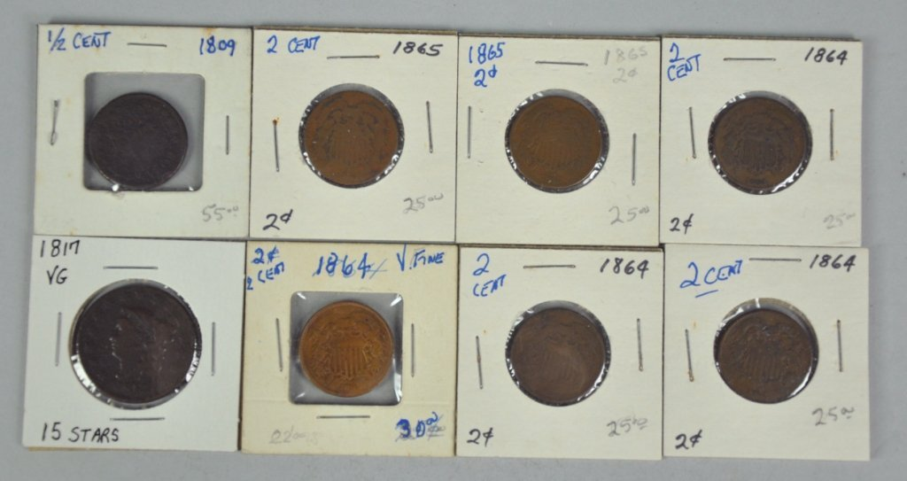 15: Six Obsolete Two-Cent Coins