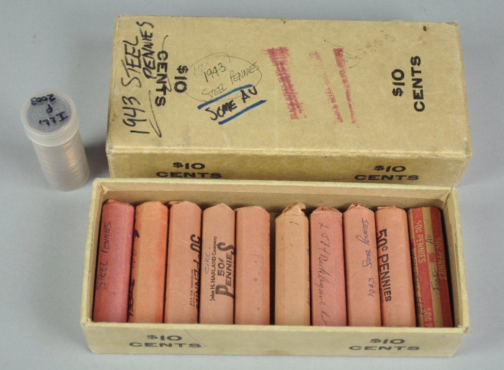 20: Ten Rolls (500 Coins) of Circulated 1943 Steel Cent