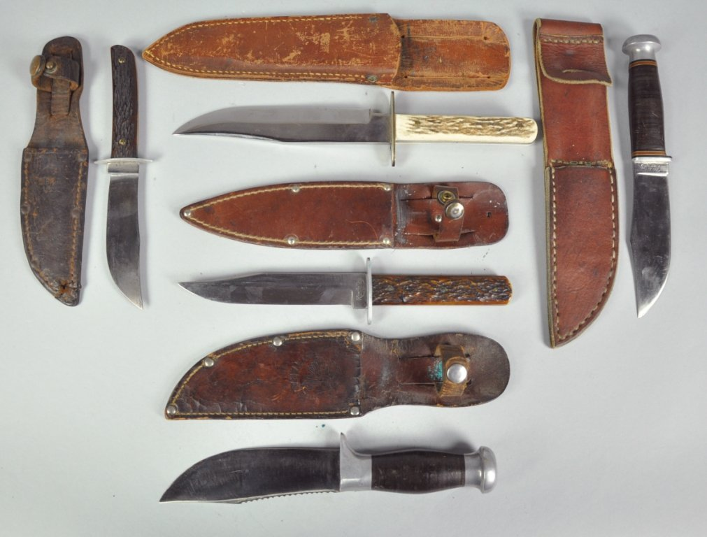 280: Five Hunting Knives in Leather Sheaths
