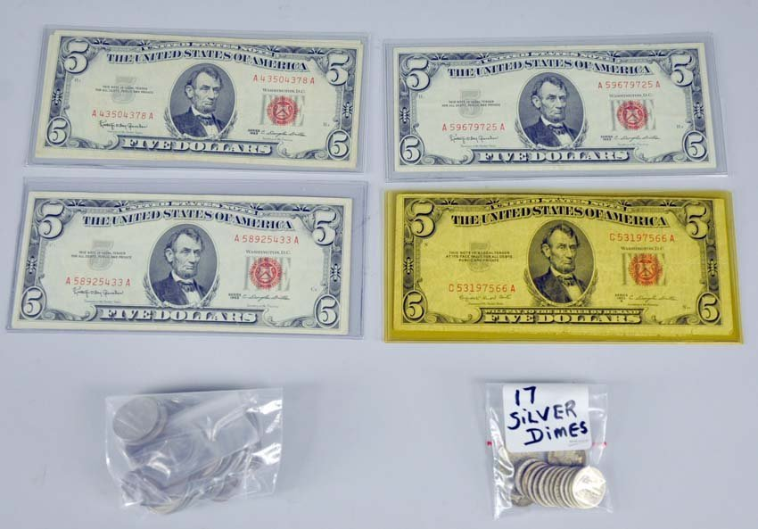 Six $5.00 Legal Tender Notes