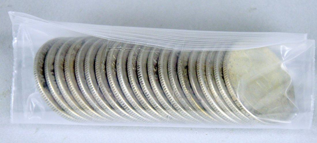 Twenty 90% Silver Washington Quarters