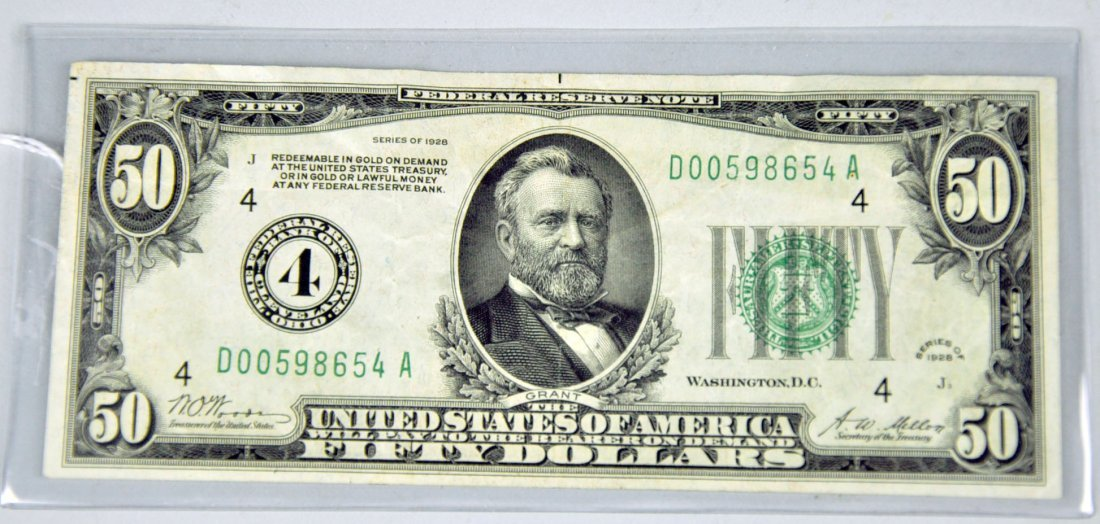 """Very Desirable $50 Federal Reserve Note """"Redeemable in"""