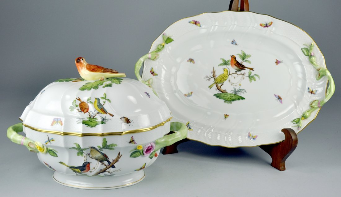 """Herend """"Rothschild Bird"""" Large Covered Tureen & 16"""""""